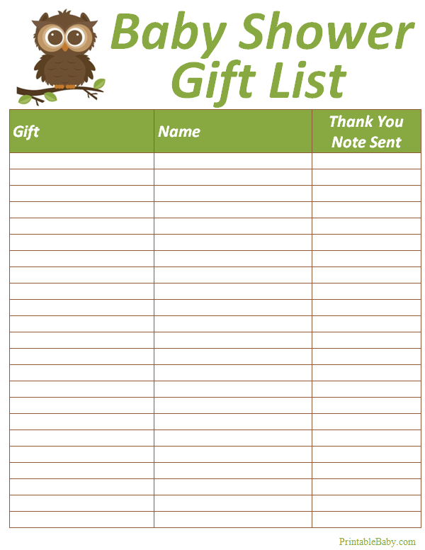 printable baby shower gift list tracker sheet miscellaneous baby printables baby shower gift