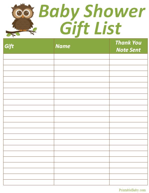 Printable Baby Shower Gift List Tracker Sheet Baby Shower Gift List Baby Shower Planning List Baby Shower Printables