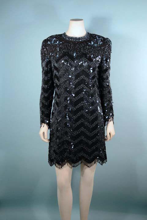 893d73eb3a6 Vintage Black Beaded Sequin Tassel Fringe Cocktail Party Long Sleeve ...
