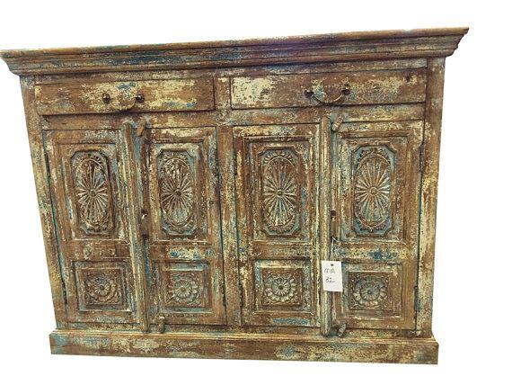 Antique Vintage Sideboard Rustic Storage Trunk By Mogulgallery Rustic Wood Furniture Vintage Sideboard Rustic Buffet