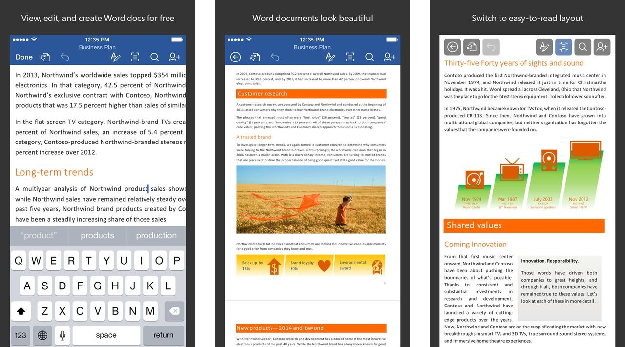 Microsoft Word Now Free for iPad and iPhone Word app