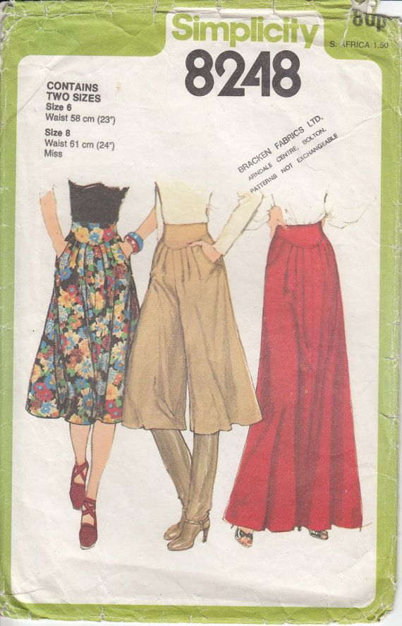 Skirt Sewing Pattern Two Size Skirt Sewing Pattern Culottes Sewing ...