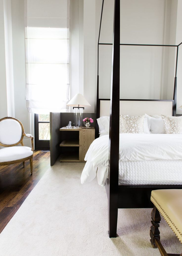 Bedroom with handsome black wood canopy bed designed by Chad James and photographed by Alyssa & Interior Designer Chad James on his Signature Style | Bed design ...