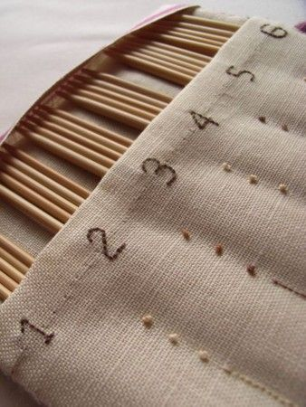 knitting needle case - embroidered on linen