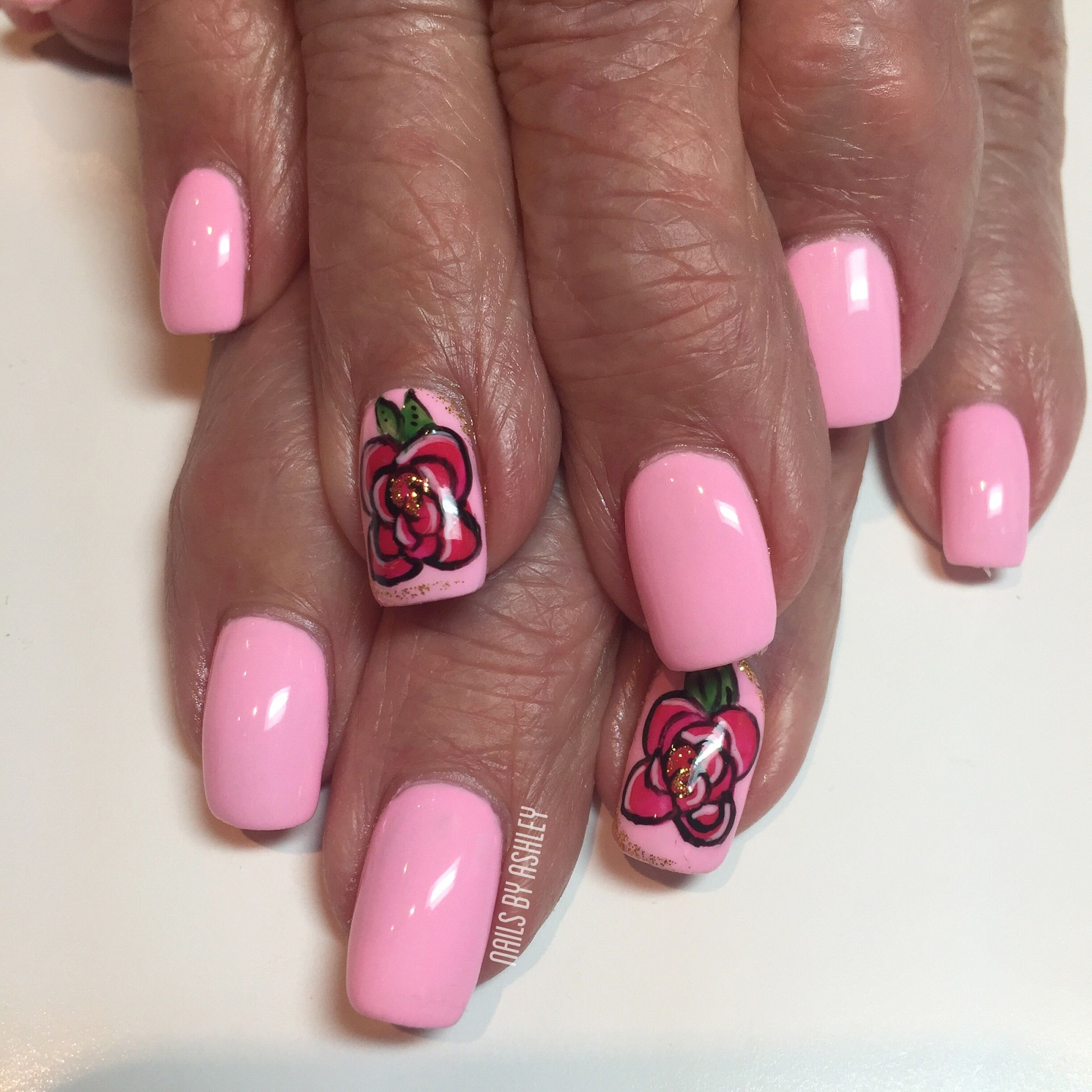 Pink Flower Nails By Kickashhairnails Nailed It Pinterest