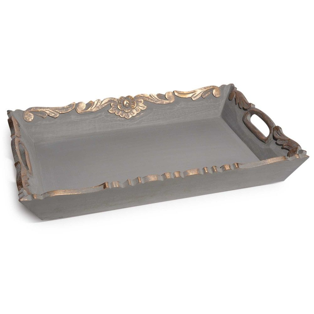 Wooden Trays To Decorate Endearing Jersande Grey Wooden Tray 38 X 50 Cm  Tray Wood  Pinterest Review