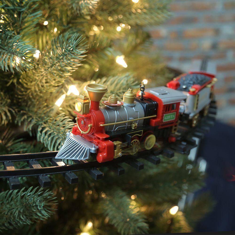 Home Accents Holiday 14 25 In Christmas Tree Train 5523018 The Home Depot Christmas Tree Train Christmas Tree Train Set Christmas Train Set