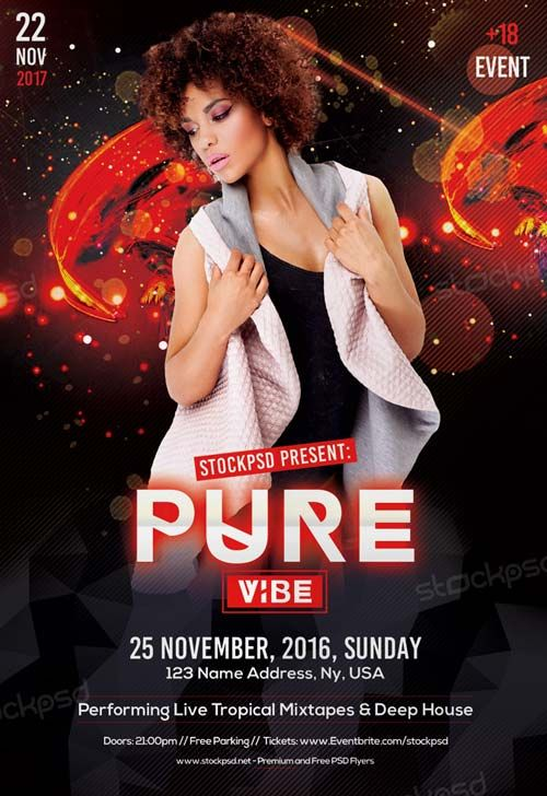 Pure Vibe Club Free Flyer Template  HttpFreepsdflyerComPure