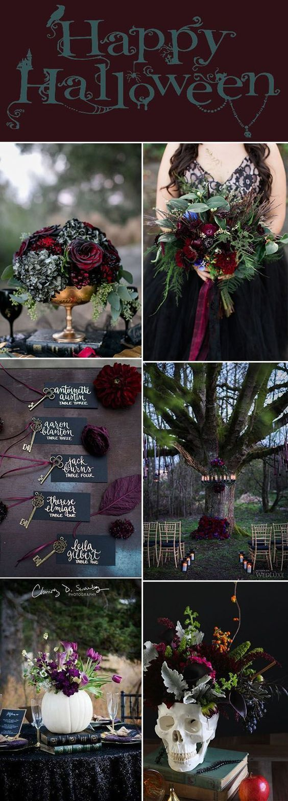 Maroon decor for wedding   Chic Fun Halloween Wedding Ideas by Theme  Halloween