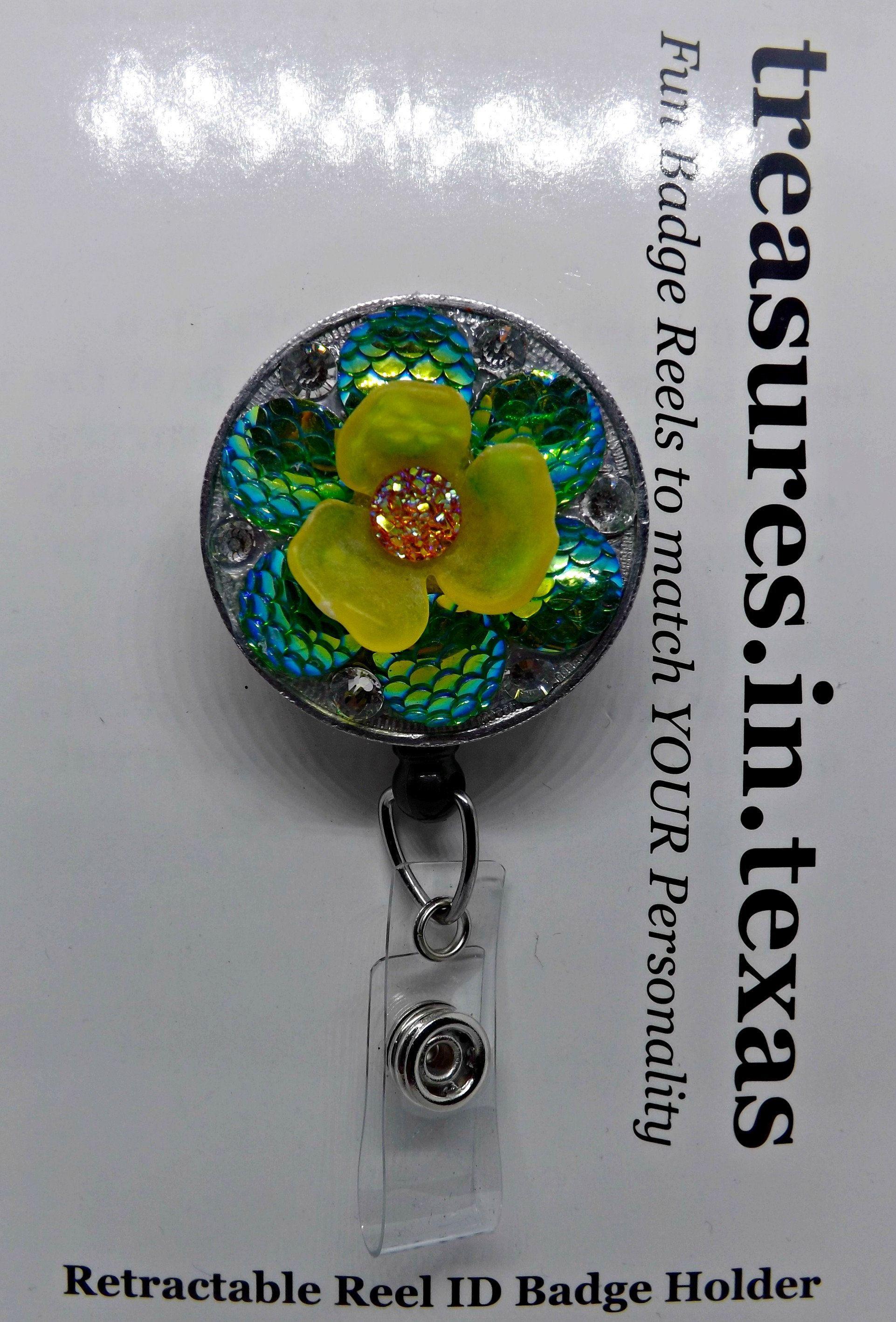 Celebrate Feel Good Flowers  ~ Artistic Impressions ~ Retractable Reel ID Badge