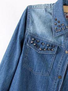 Plus Size Fashionable Stud Embellished Denim Shirt