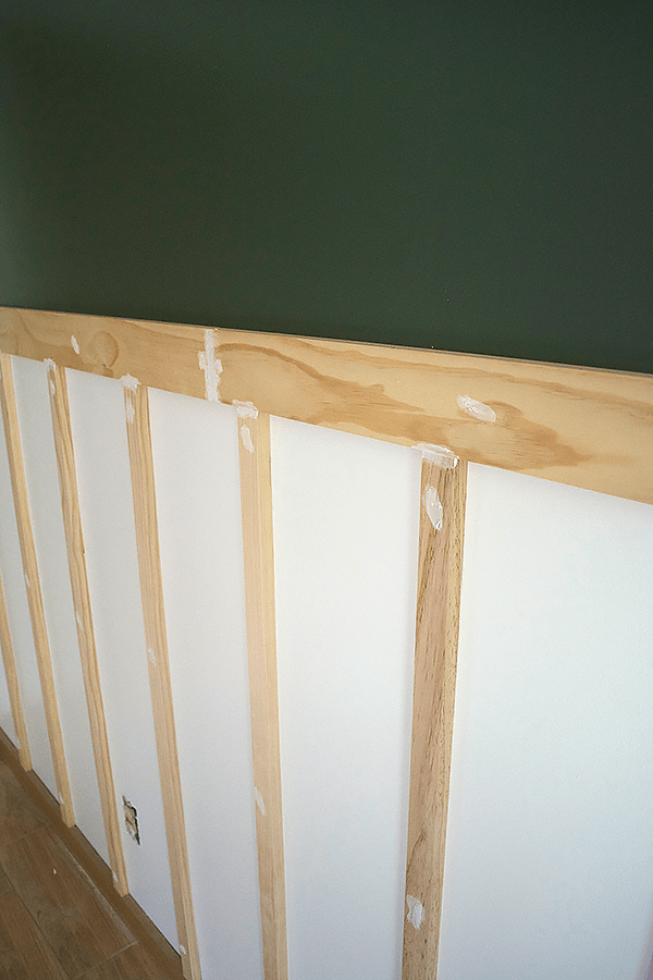 Diy Board And Batten With Shelf Brepurposed Green Accent Walls Board And Batten Diy Boards