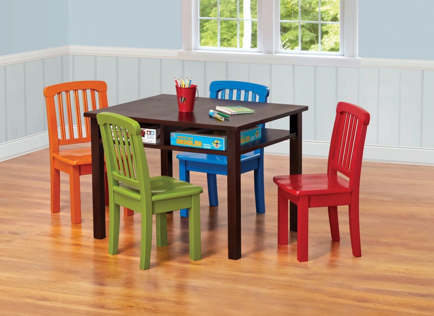 kids table and chair set ukid rectangle game table with 4 chairs chocolate - Kid Table And Chair Set