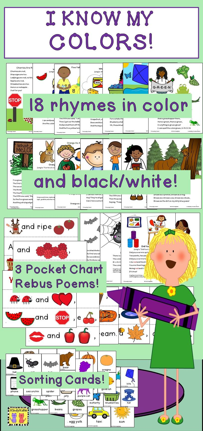 Color Recognition: Songs & Rhymes | Early childhood, Kindergarten ...