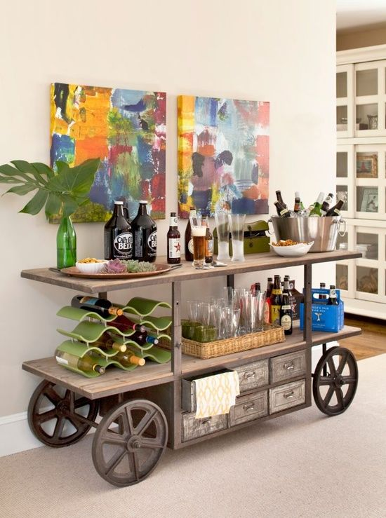 Beach Cart Design http://jewelpie.com/10-creative-ideas-for-a-home-bar/