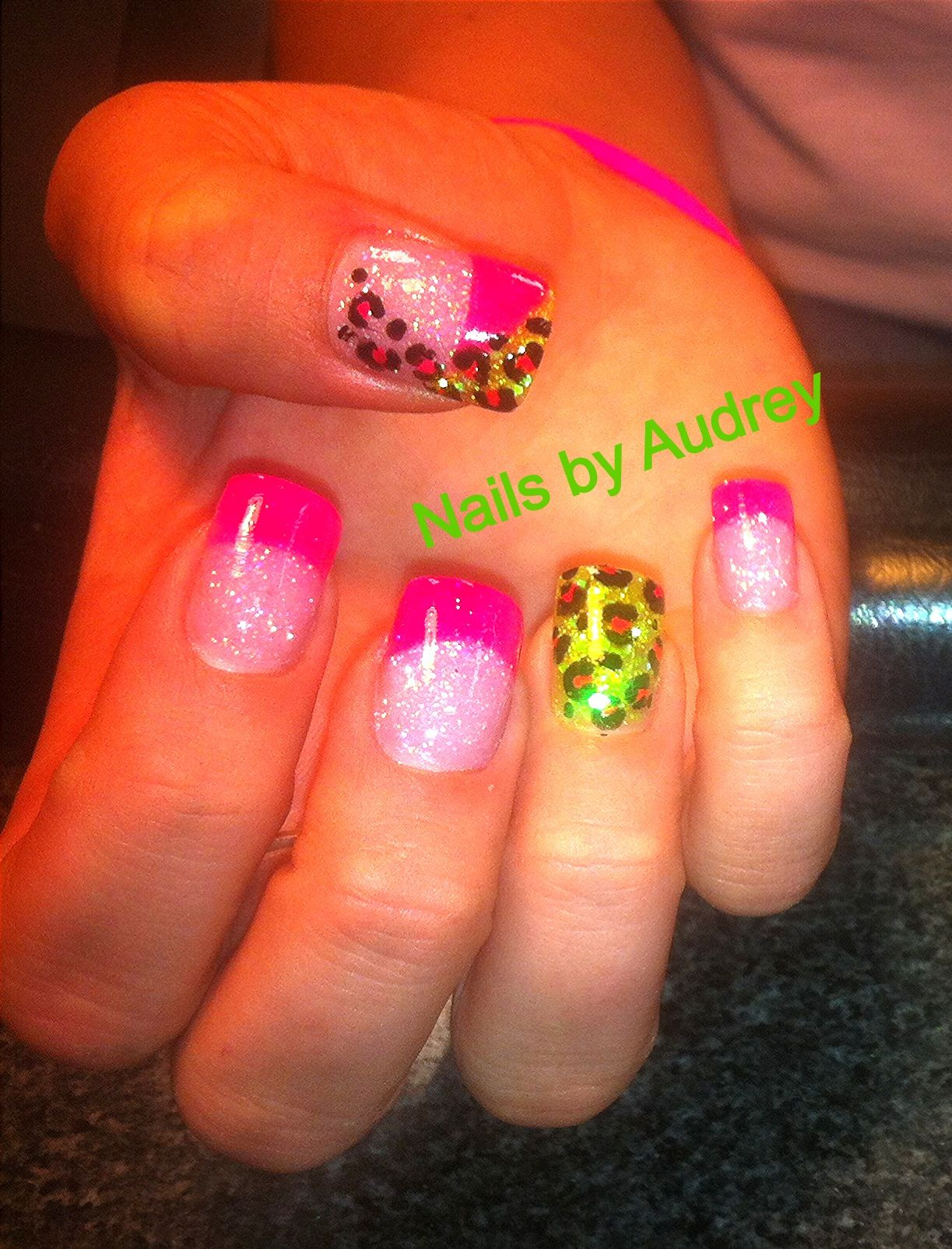 Hot pink lime green nails nails by audrey pinterest hot pink lime green nails prinsesfo Choice Image