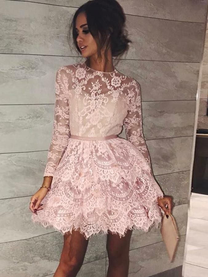 A Line Scoop Long Sleeve Short Prom Dress With Lace Pink