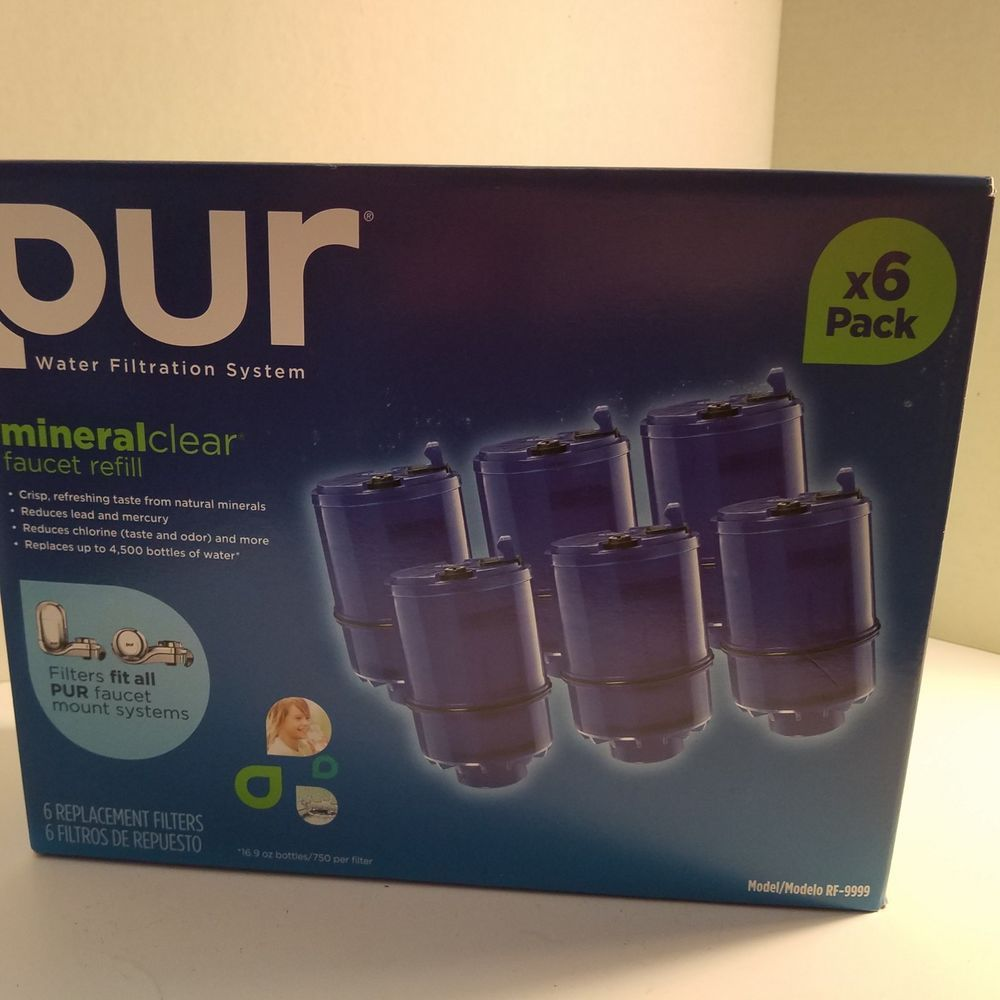 PUR Water Filtration System Mineral Clear Faucet Refill 6-Pack Model ...