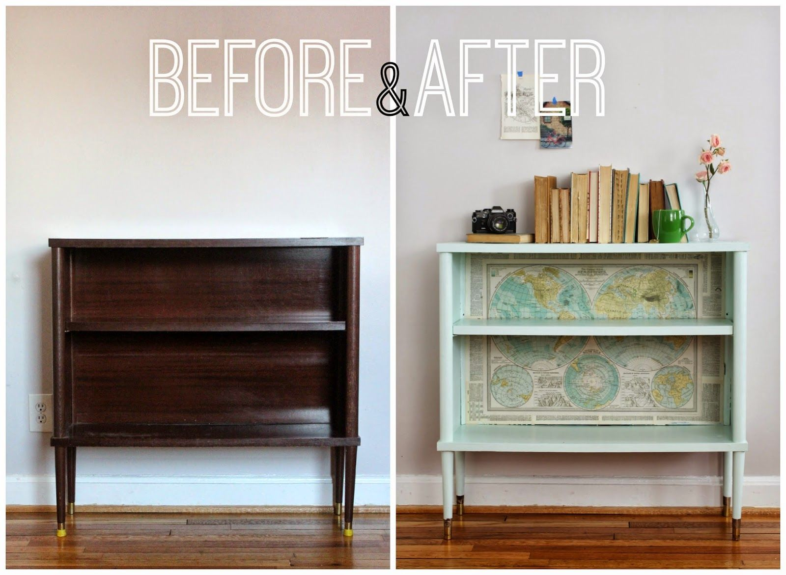 Mint green midcentury bookshelf with maps before u after