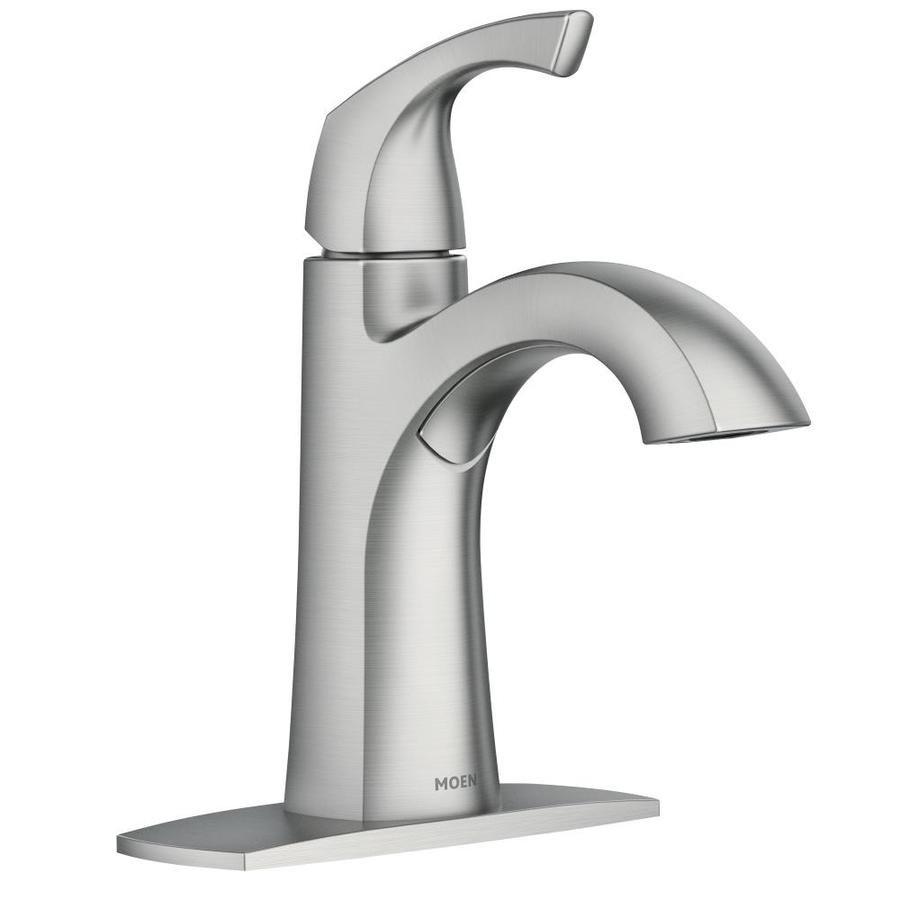Moen Lindor Spot Resist Brushed Nickel 1 Handle 4 In Centerset Watersense Bathroom Sink Faucet With Deck Plate Lowes Com Sink Faucets Bathroom Sink Faucets Moen Bathroom Faucets [ 900 x 900 Pixel ]
