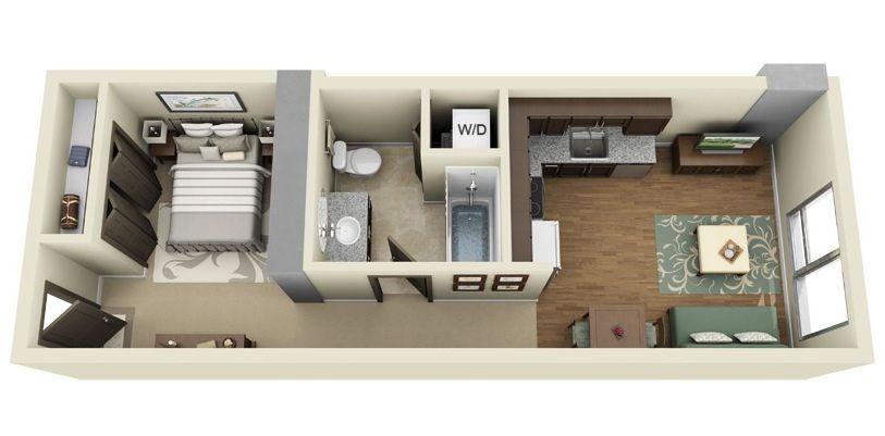 Small Studio Apartment Design Floor Plans