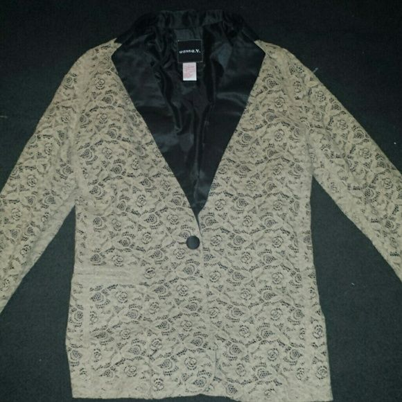 Lace tuxedo jacket Beige lace with satin lapels. Worn once. I wore this with a black bustier and some American Apparel disco pants Jackets & Coats