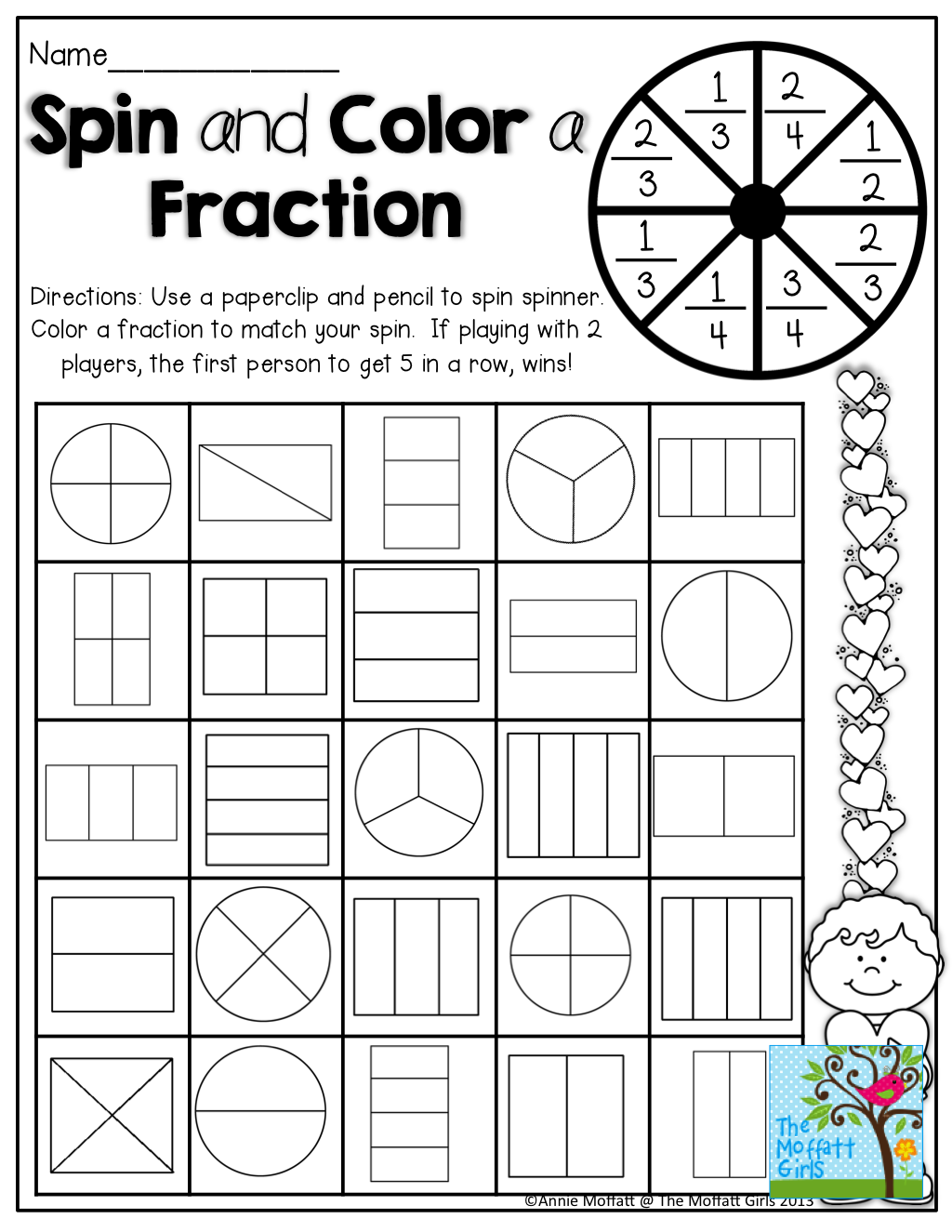 Epic image intended for printable fractions games