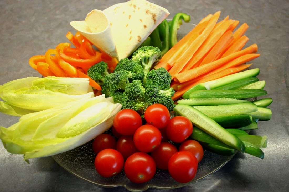 perfect for hot summer days, vegetable sticks with dips ...