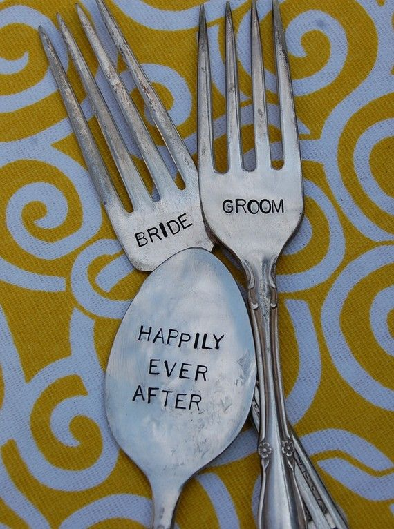 Bride and groom vintage wedding spoon and fork table marker set bride and groom vintage wedding spoon and fork table marker set sciox Images