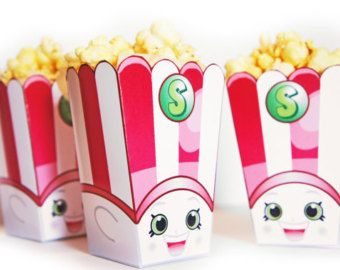 3 Poppy Corn Popcorn Boxes Shopkins Birthday By SuperCraftDee