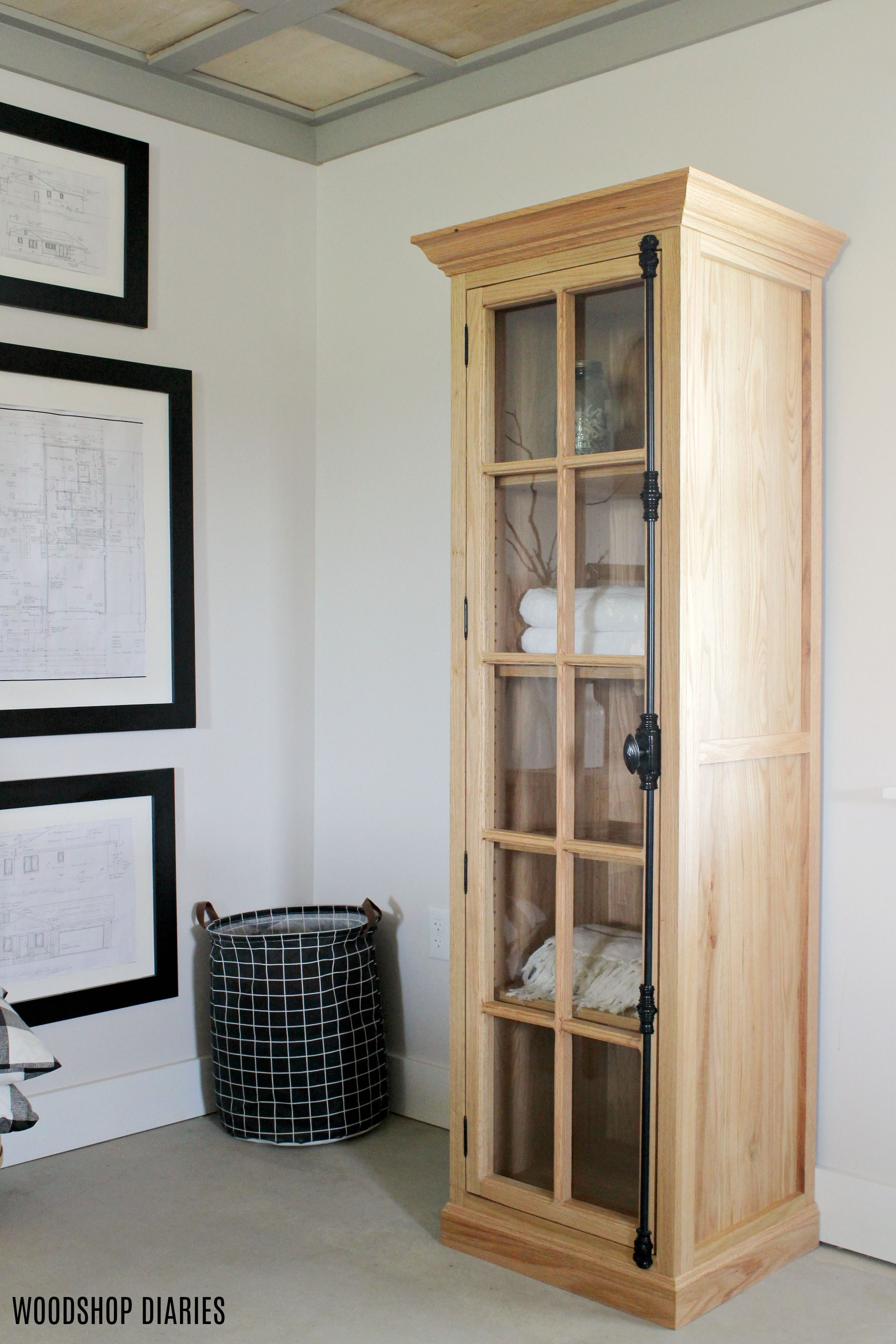 Diy Linen Cabinet With Glass Door Plans And Tutorial Glass Cabinet Doors Linen Cabinet Diy Linen Cabinet