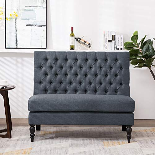 Andeworld Modern Tufted Button Back Upholstered Settee Loveseat Grey for Dining Room Hallway or Entryway Seating images