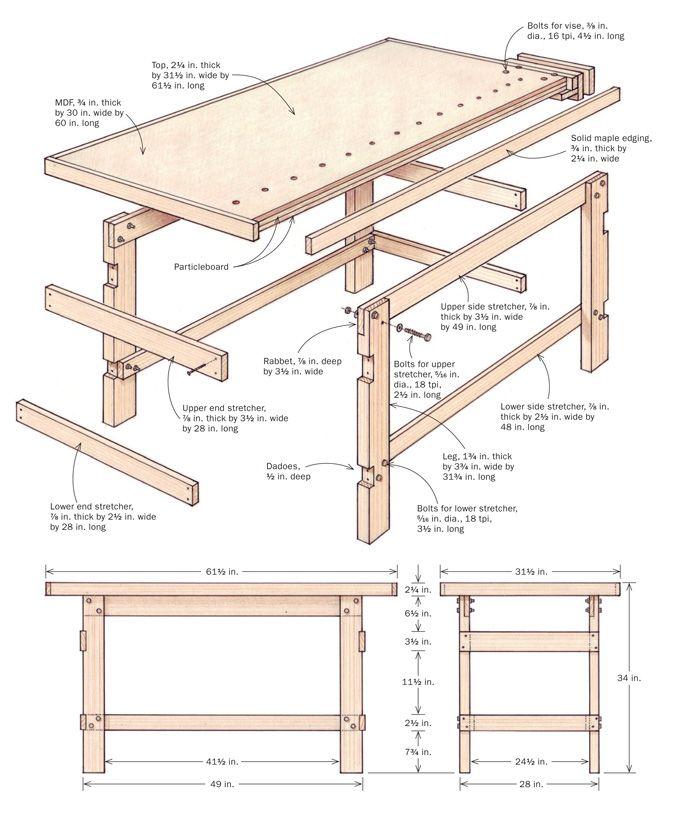 Como hacer bancos para trabajo carpinteria buscar con for Planos de carpinteria de madera