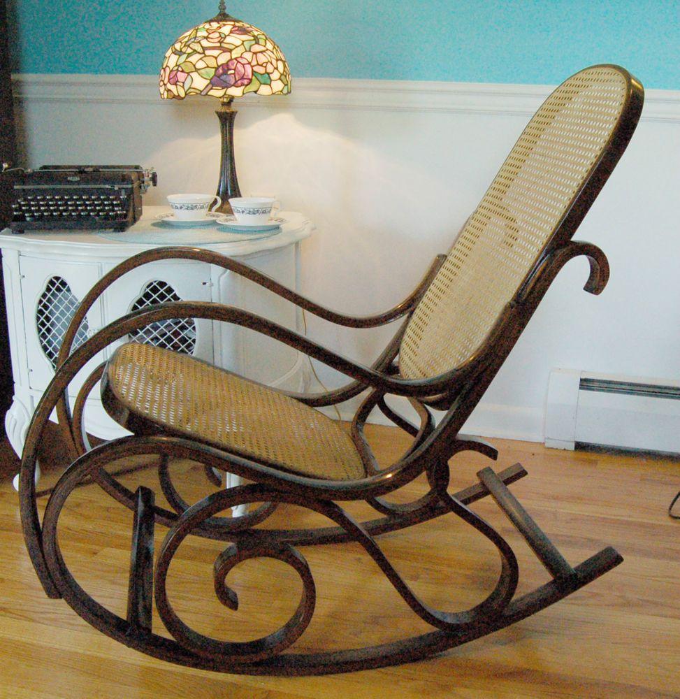 Vintage BENTWOOD ROCKER Cane Back Rocking Chair Antique - Antique bentwood rocker rocking chair