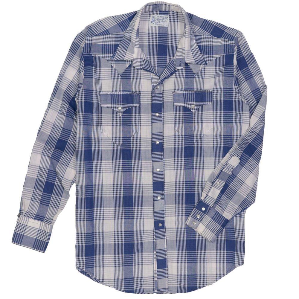 8d9a975b83 Rockmount Ranch Wear Men s Shirt Vintage Large Tru-West Plaid Pearl Snap  Western