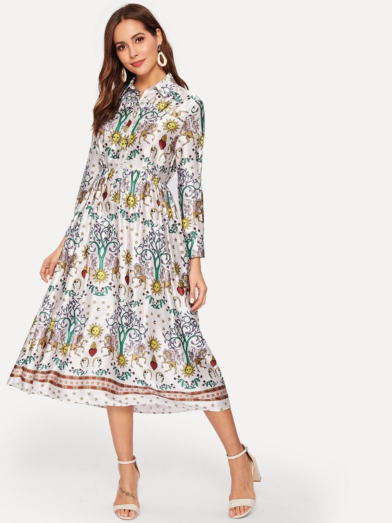 4dc6995fec cartoon and plants print shirt dress.  dresses  clothing  women  fashion