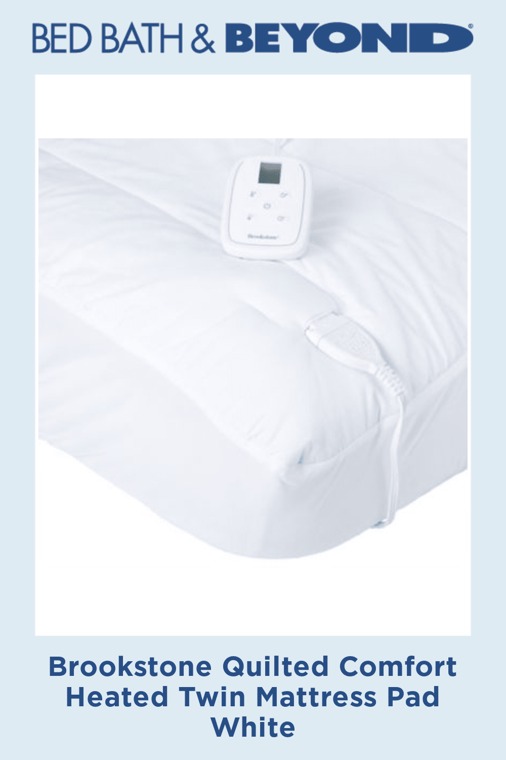 Brookstone Quilted Comfort Heated Twin Mattress Pad White