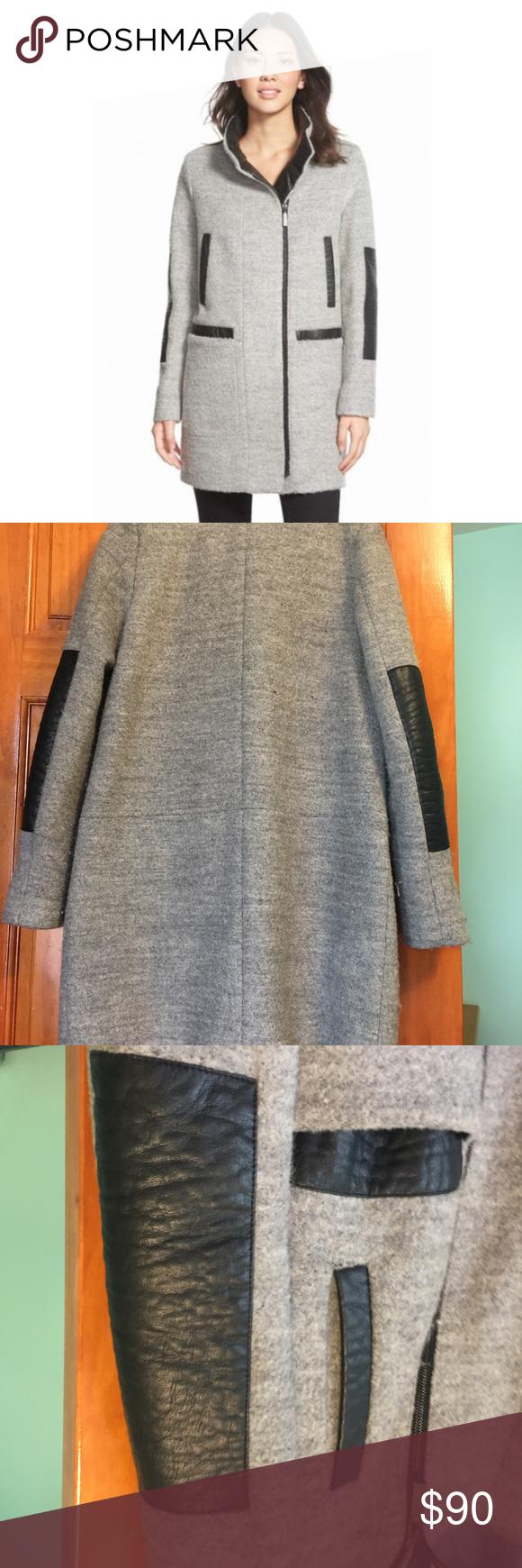 Vince Camuto Faux Leather Trim Bouclé Coat A stand collar