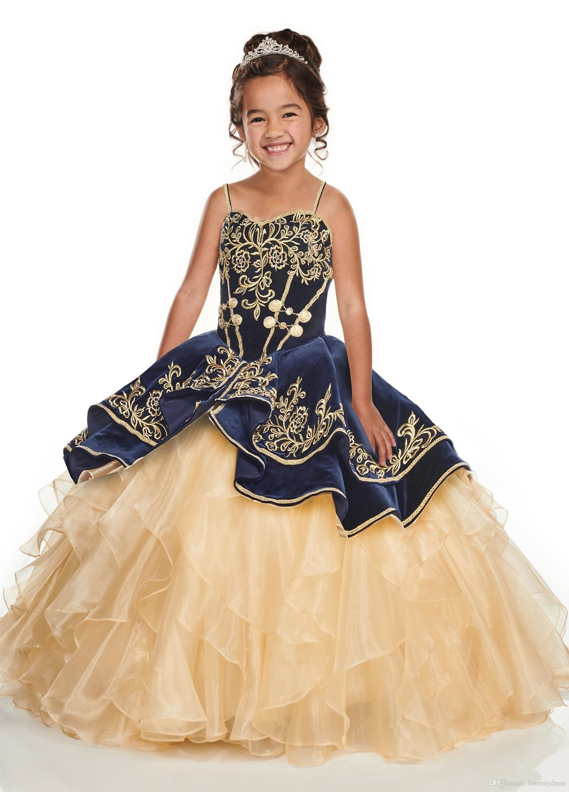 Navy Blue With Gold Embroidery Little Girls Pageant Dresses 7