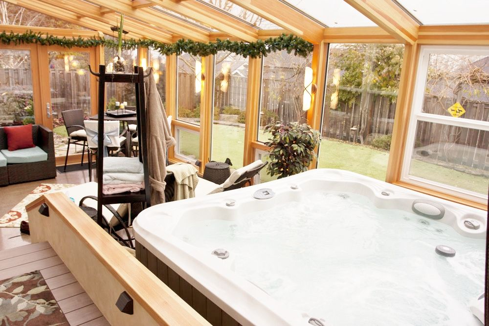 add sunlight to your home with a sunroom hot tub room pinterest sunroom sunlight and hot tubs. Black Bedroom Furniture Sets. Home Design Ideas