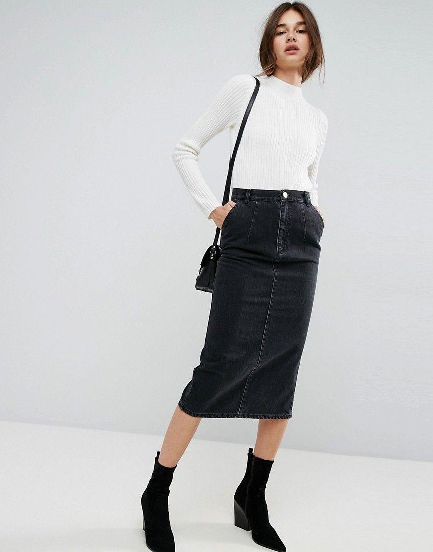 8b0eba9dd ASOS Denim Midi Skirt in Washed Black - Black   Can Someone Just Buy ...