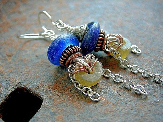 Antique Glass Earrings .Blue & Yellow African Trade Beads .Copper Wire Wrap .Ethnic Inspired