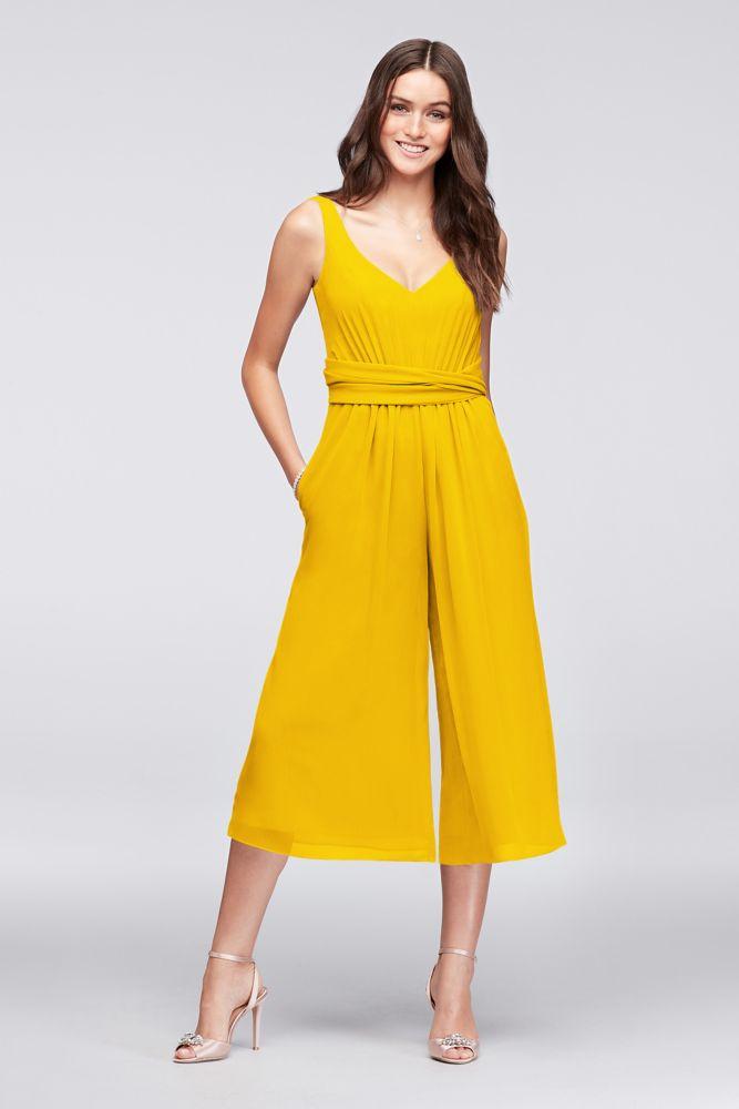 Tie-Back Crinkle Chiffon Bridesmaid Jumpsuit Style F19741, Sunflower, 24