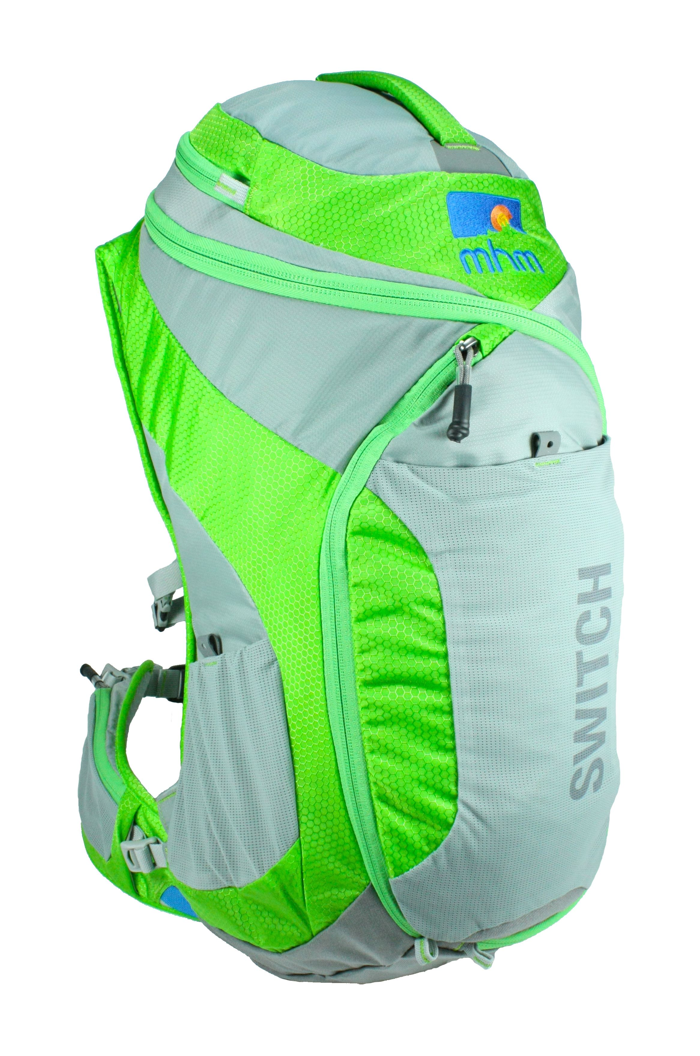 MHM SWITCH 24 Backpack-  The Switch features an S-shaped zipper that goes through every panel of the pack making access to your gear easier. It also allows you to open up the entire pack to use as a ground mat. The pack has 9 pockets, including a large zippered front pocket as well as great carrying features like an HDPE framesheet, angle adjustable and removable hipbelt and perforated foam. Available Spring 2014