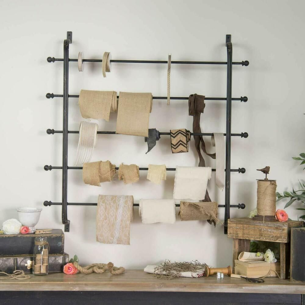 Heavily Distressed Black 5 Tier Metal Ribbon Rack Wrapping Paper Wall Holder Vipssci Baskets On Wall Wrapping Paper Holder Wrapping Paper