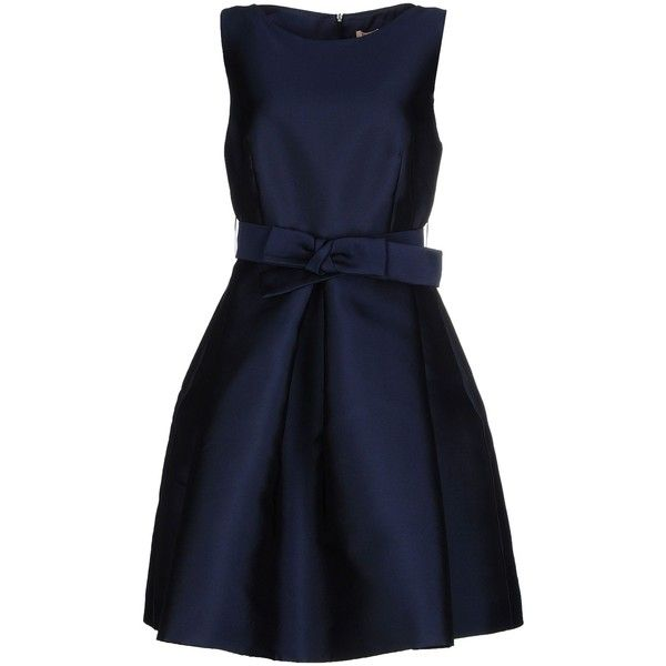 P.a.r.o.s.h. Short Dress (2.785 NOK) ❤ liked on Polyvore featuring dresses, dark blue, blue dress, mini dress, short blue cocktail dresses, short pleated dress and sleeveless dress