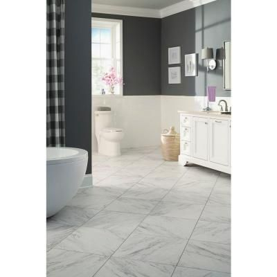 Trafficmaster 18 In X 18 In Peel And Stick Carrara Marble Vinyl Tile 27 Sq Ft Case Ss1212 The Home Marble Vinyl Vinyl Tile Luxury Vinyl Tile Flooring