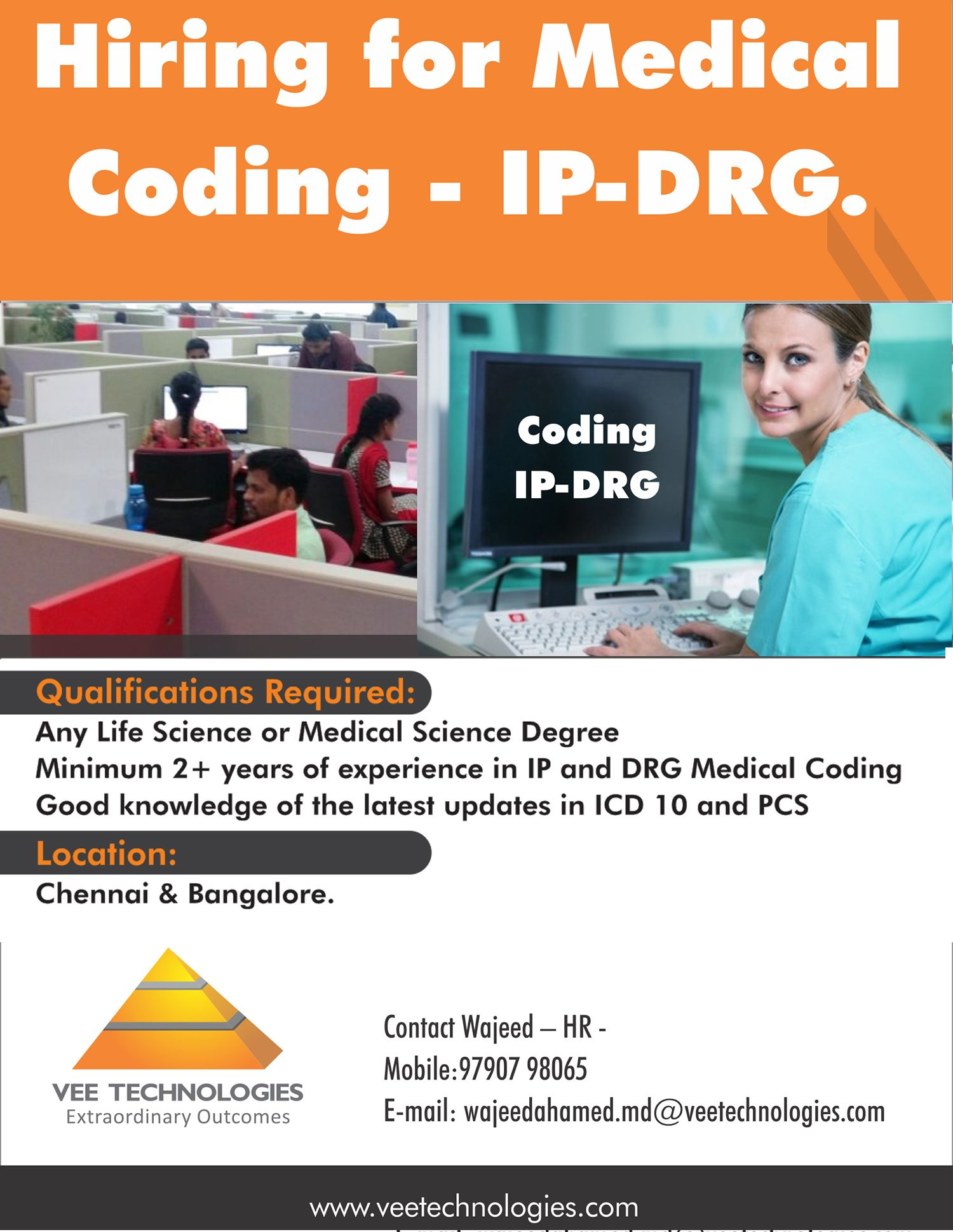 Job Opening At Vee Technologies For Medical Coders  Ip And Drg