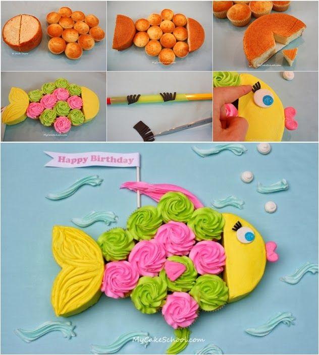 How to Make Birthday Fish Cupcake Cake