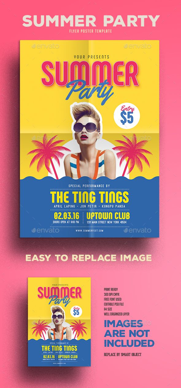 Summer Party Party flyer, Summer parties and Flyer template